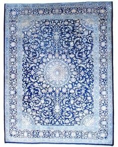 Persian Hand-knotted Mashad Navy/Ivory Wool Rug - eclectic - rugs - Overstock