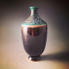 Carmins Turquoise and Shiny Black Vase
