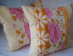 pair of patchwork pillow cases 20x20 pink and yellow by HAWThome, $64.00