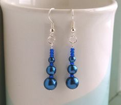 Midnight blue faux pearl and royal blue seed bead earrings by FfigysDesigns, £4.25