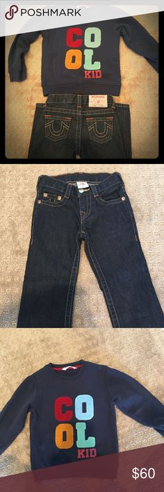 True religion Billy jeans True religion boy Billy jeans size 4 with adjustable waist. H&M Cool kids Sweater size 4-6. Authentic True religion jeans worn twice. True Religion Bottoms Jeans