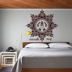 Wall Decals Mandala Indian Pattern Oum Om Yoga Decal Vinyl Sticker Hamsa Hand Decor Home Art Bedroom Studio Interior Design Murals MN785