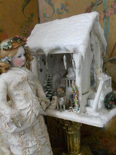 ~~~ Beautiful German Winter Wonderland Doll House ~~~ from whendreamscometrue on Ruby Lane
