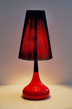 Mid Century Modern Danish ceramic red color glaze table lamp with original shade