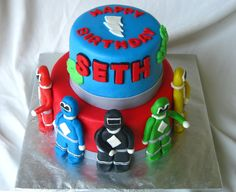 POWER RANGER CAKE-- They kinda look like gumby characters..but love the idea.