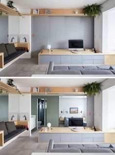 In this small and modern apartment, the wall behind the tv opens up to reveal the bedroom and the bathroom. Apartment Interior, Apartment Living, Apartment Kitchen, Living Room, Small Sitting Areas, Deco Studio, Sliding Wall, Salon Interior Design, Small Room Design