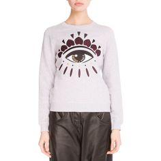 Kenzo Light Brushed Cotton Eye Sweatshirt (1.030 BRL) ❤ liked on Polyvore featuring tops, hoodies, sweatshirts, light grey, embroidered top, kenzo, crew neck sweatshirts, crewneck sweatshirt and kenzo sweatshirt
