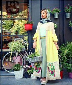 Persian Fasion_Iranian Woman Iranian women fashion trend – Just Trendy Girls Street Hijab Fashion, Abaya Fashion, Muslim Fashion, Kimono Fashion, Modest Fashion, Fashion Dresses, Abaya Style, Hijab Style, Mode Abaya