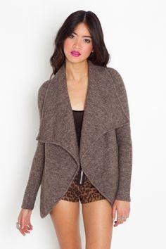 Draped Knit Jacket - Mocha - StyleSays