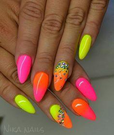 Elegant gel nail art designs for 2018 - style you 7 neon nail polish, neon Neon Nail Art, Neon Nail Polish, Neon Nails, Pink Nails, My Nails, Nail Polishes, Bright Nails, Glitter Nails, Nail Gel