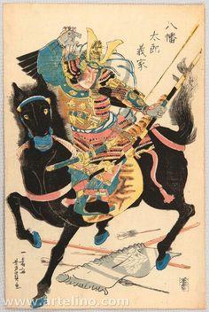 Samurai Archer - Minamoto Yoshiie - Musha-e. Original Japanese woodblock print by Yoshikazu Utagawa active Japanese Drawings, Japanese Artwork, Japanese Tattoo Art, Japanese Painting, Japanese Prints, Samurai Artwork, Japanese Mythology, Japanese Warrior, Kuniyoshi