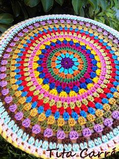 Ravelry: Lucienne's Summer Mandala pattern by Marjan Hoebeke-Pfaff Crochet Circles, Crochet Round, Crochet Squares, Crochet Motif, Crochet Designs, Crochet Doilies, Cute Crochet, Crochet Stitches, Knit Crochet