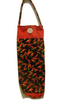 Fabric Plastic Bag Holder/ Grocery Bag Holder/ Red by bagsbyhags45 #ChiliPeppers #KitchenDecor #Southwest