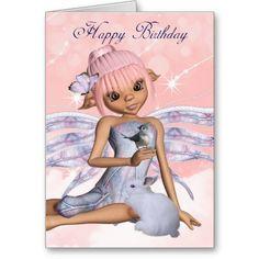 Birthday Card With Fairy Butterfly Little Bird