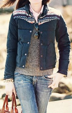 Aviator sunglasses, distressed denim, knit-detail jacket, ash grey knit sweater, pink collared button-up shirt.