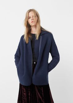 Contrast sleeves cardigan - Cardigans and sweaters for Woman | MANGO United Kingdom