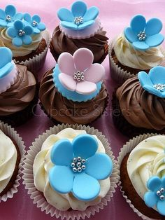 Pink & Blue Wedding Cupcakes