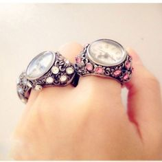 Cheap Gorgeous Rhinestone Trim Hollow Ring watches For Big Sale! Jewelry Rings, Jewelry Accessories, Fashion Accessories, Accessories Online, Silver Jewellery, Jewelery, Fashion Rings, Fashion Jewelry, Ring Watch