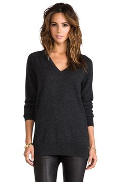 Equipment Asher V-Neck Sweater in Charcoal | REVOLVE