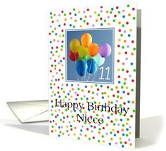 11th Birthday Card for Niece colored balloons card