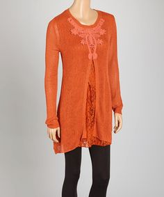 Look what I found on #zulily! Rust Lace Layered Tunic by Pretty Angel #zulilyfinds