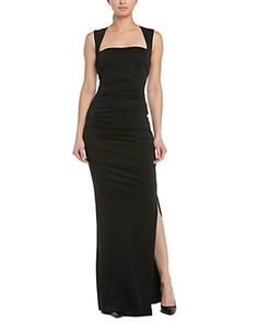Nicole Miller Black Ruched Gown