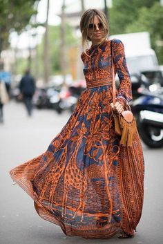 This is modern boho fashion! Flowing materials and bohemian style colors and pattern but with a tailored cut. | Our Top 10 Bohemian Chic Outfit Ideas to Copy
