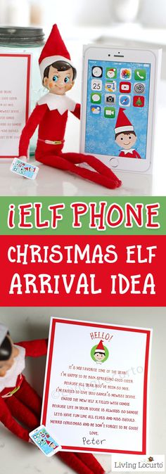 Elf Phone printable and welcome back elf arrival letter from the North Pole! An easy and adorable Christmas Elf Arrival Idea. Surprise kids with Santa's iElf X Phone. Magical North Pole cutting edge technology where phone is powered by candy! Cute printables! #elf #christmas #elfideas