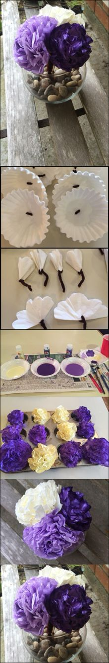 DIY coffee filter flower centerpiece