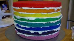 layers of different color cake on tp of eachother kept to together with vanilla frosting