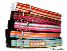 Stripe dog collar & dog leash Multi. colored decorative top stitches on jewel tone stripe ribbon is sewn on durable and flexible nylon webbing. Classic yet eye-catching bright colored pets collars are beautiful and practical for everyday use. 5 color choices for both girl dogs and boy dogs.  * Color choices for ( dog collar only $24.00 ) or ( dog collar & leash set $50.50 -$53.50) F: Cherry red dog collar  ............Bright red, cream stripe ribbon w/ multi. color top stitches. red webbing…