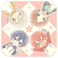 Mafumafu, Urata, Aho no Sakata and Soraru Chibi Boy, Cute Anime Chibi, Kawaii Chibi, Cute Anime Boy, Kawaii Anime, Anime Guys, Manga Anime, Anime Art, Vocaloid