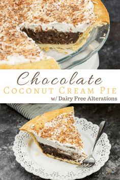 This easy decadent chocolate coconut cream pie recipe is bound to be the best instant crowd pleaser! Made from scratch with a perfectly flaky crust, Old-fashioned smooth & creamy dairy-free custard pudding filling and crowned with fluffy homemade Whipped topping and pan toasted coconut. Perfect for holidays, Thanksgiving pies, Potluck dinners, summer BBQs and best of all National Pi Day.  #pierecipe #dairyfree