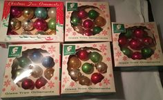 44 Vintage Christmas Miniature Glass Feather Tree Ornaments All in BOXES