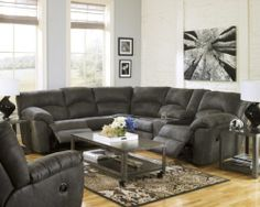 THE ONE I WANT!!!!!                   Ashley Tambo Pewter Gray Contemporary Motion Reclining Sectional Sofa Recliner | eBay