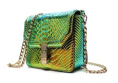 Remeehi Hologram Snake Skin Leather Shoulder Bag Crossbody Bag with Chain (Hologram Green): Handbags: Amazon.com