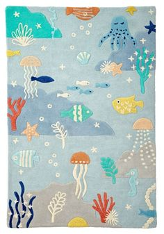 Shop Under the Sea Rug. This blue ocean-themed rug is brimming with marine life, including an octopus, starfish, seahorse, jellyfish and just about everything else you& likely to see under the sea. Designed exclusively for us by Amy Van Luijk.