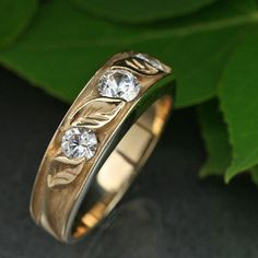CONTEMPORARY 3Stone WEDDING RING. 14k gold with by BandScapes, $710.00