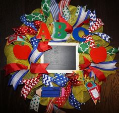 Teacher Wreath-Mini Classroom Wreath-Mini by Texascaseyscreations