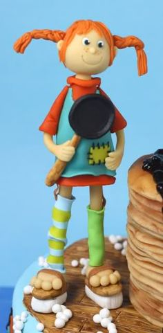 Pippi Longstocking Polymer Clay Projects, Polymer Clay Creations, Clay Crafts, Beautiful Cakes, Pretty Cakes, Pippi Longstocking, Elephant Cakes, Clay Figurine, Cute Clay