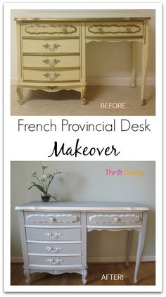 French Provincial Desk Makeover from Thrift Diving - This was a piece from the set in my bedroom growing up.