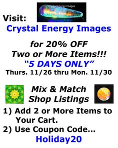 Coupon Code 20% Off / Discount on 2 or More Photos & Products / Crystal Photos / Healing Crystals / Healing Stones / C1