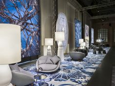 Moooi Carpets Signature Collection Broadloom, Style: Delft Blue by Marcel Wanders. Moooi broadloom carpeting is available exclusively through Aronson's Floor Covering, New York.