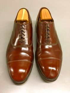 155563d1c10 Allen Edmonds Park Avenue Cap-toe Oxfords BROWN Mens Size 12 E~EXECUTIVE  LOOK