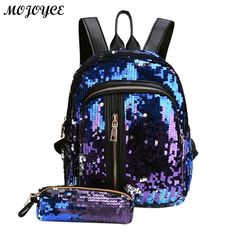25bae78518 2pcs Set New Sequins Backpack New Teenage Girls Fashion Bling Rucksack  Students School Bag with