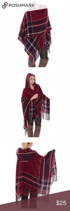 "Wine Oversized Check Hooded Poncho Wrap Material: 100% Acrylic Size: 46"" x 52"", about 32"" from shoulder to hem, oversized fit Open front, hooded collar, plaid patten design with fringe trim Loose fitting, open front draped poncho wrap is perfect to wear over leggings or jeans Versatile. Can be used as a cardigan, ruana, wrap cape, blanket scarf, etc. Sweaters Shrugs & Ponchos"