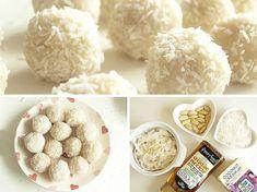 Healthy Rafaello Bonbons Recipe on Yummly. Coconut Desserts, Coconut Recipes, Easy Desserts, Raw Vegan Recipes, Clean Recipes, Sweet Recipes, Paleo Dessert, Dessert Recipes, Healthy Sweet Snacks