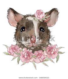 Cute Baby Rat in Peony Flowers Unisex Hoodie