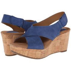 Clarks Caslynn Shae Women's Wedge Shoes, Blue (730 NOK) ❤ liked on Polyvore featuring shoes, sandals, blue, platform wedge shoes, platform wedge sandals, wedge heel sandals, blue wedge shoes and blue wedge sandals