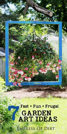 Would you like to make some big creative changes to your garden in just one afternoon? Check out these 7 fast + fun + frugal garden art ideas. They're easy to do and make a big, bold impression. #sponsored